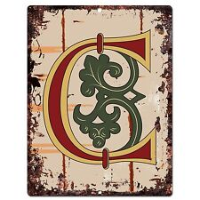 PP0511 Alphabet Medieval Initial Letter C Chic Sign Bar Shop Store Home Decor