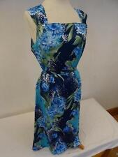 Vintage Vestido Recto Azul / Floral Tamaño Británico 16 430B
