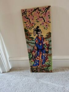 Vintage Tapestry Chinese Japanese Wall Hanging Picture emporer Stitched Asian