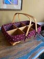 Longaberger Gathering Basket W Dbl Handle, Fabric & Plastic Liners Wood Dividers