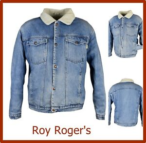 roy rogers giubbotto giacca jeans uomo sherpa xl invernale con pelliccia vintage