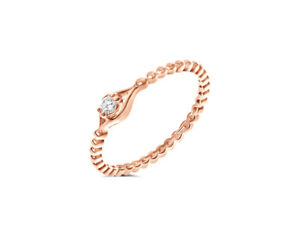 The 'Delight' Diamond Solitaire Stacking Ring in 18k Rose Gold by Leah Van Meyer