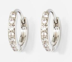 A New Day Huggie Earrings - Silver / Cubic Zirconia - Nickel Free