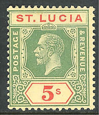 St Lucia 1921 green/red on pale-yellow 5/- mint SG105