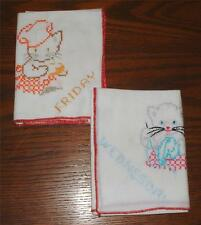 2 NEW VINTAGE 1940's HAND CROSS-STITCHED WED.&THUR. BUSY KITTY COTTON TEA TOWELS