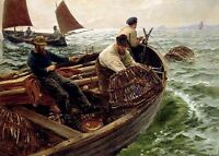 Perfect Oil painting fishermen on Fishing boat fishing on ocean canvas no framed