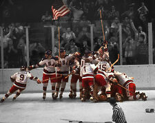 1980 Miracle on Ice USA HOCKEY 8x10 Photo Olympics Celebration Spotlight Poster