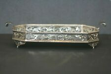 Vintage Sterling Silver English Vanity Two Handle Platter Tray Cut Out Design NR