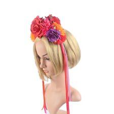 Gothic Halloween Cosplay Women Rose Flower Headbands Veil Party Decor LA
