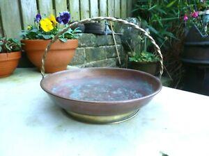 Vintage copper & brass bowl basket fruit planter window box flowers