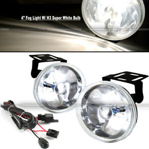 "For Miata 4"" Round Super White Bumper Driving Fog Light Lamp Kit Complete Set"
