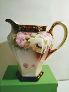 """Hand Painted Nippon Blue Maple Leaf 6"""" Colbalt/Gold Pink Floral Pitcher"""