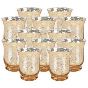 24 Gold Mercury Glass Large Hurricane Candle Votive Set Premier Large 3.5 in