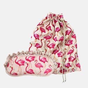 Sara Miller Silk Travel Set - Eye Mask and Bag - Flamingo Retro - Brand New