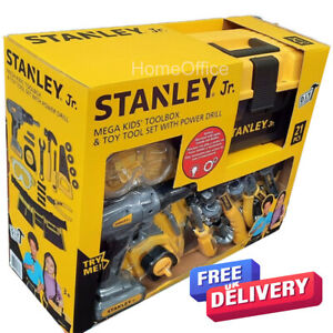 Stanley Toy Junior Toolbox Plus Tools Set Tools Battery Drill Child Kids DIY