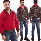 Felpa uomo giacca mimetica double face imbottita zip cappuccio nuova 16-639