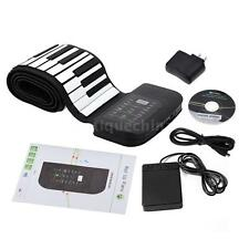 Professional 88 Keys Flexible Roll Up Piano Keyboard with Sustain Pedal W4X9