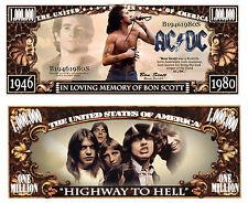 Bon Scott of AC/DC Million Dollar Bill Funny Money Novelty Note + FREE SLEEVE