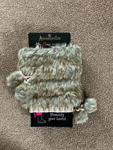 Accessorize faux fur and knitted cream boot cuffs