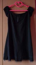 Zwarte jurk kleed met gefronste schoudermouwen en voile Maat M