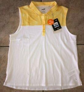 Womens Puma Tie Dye Blocked Sleeveless Golf Polo Yellow White 597689-03 NWT $55