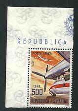 San Marino 1965 : L. 500 Posta Aerea / Aereo Dart - nuovo non linguellato, MNH**