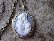 VIRGIN MARY AND BABY JESUS CAMEO LOCKET - RELIGIOUS - ANTIQUED BRONZE - GRAYISH