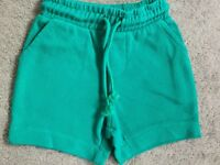 M&S GREEN COTTON SHORTS WITH ELASTICATED WAISTBAND AND DRAWSTRING - BNWT