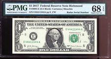 2017 $1 Federal Reserve Note with Fancy 1/4 BINARY & RADAR Serial # PMG 68EPQ
