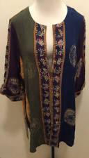 ULLA POPKEN XL 12W/14W Long Sleeve Jacket Unlined Bold Print Blue Green
