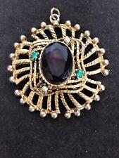 Pendant W. Topaz, Peridot & Pearl Like Antique Art Nouveau/ Art Deco Gold Tone