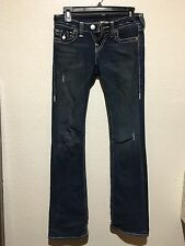 "Womens TRUE RELIGON distressed FLARE Stretch Jeans 26"" size 2"