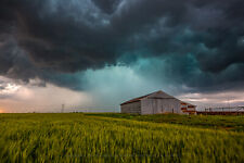 Photography Print of Tin Covered Barn and Passing Storm in Oklahoma