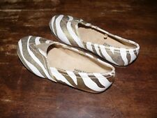 Michael Kors White and Gold Canvas Flats Lil Mabel Size 11