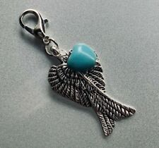 Native Wings Feathers Navajo Sleeping Beauty Turquoise Charm Silver Pendant
