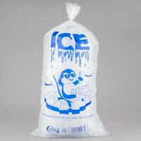 500/CASE 20 Lb Clear Plastic Ice Bags Store Machine Commercial Barcode 20LB Blue