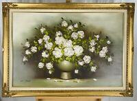 WILLIAM STEIL Large Gilt Framed Vintage Flower Vase Still Life Oil on Canvas