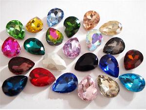 50pcs 4*6mm nail art teardrop rhinestone cut crystal bead point back you pick