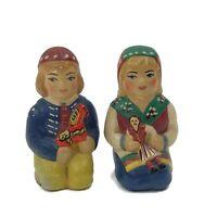 Vintage Swedish Ceramic Boy & Girl Salt & Pepper Shakers Handpainted Kitchen