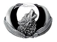 Boucle de ceinture loup hurlant pleine lune, étain.