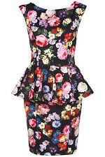 New TOPSHOP TALL rainbow floral peplum dress UK 10 in Black/Multi