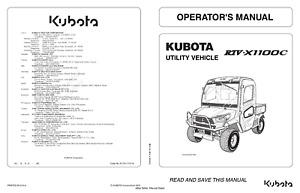 KUBOTA UTILITY VEHICLE RTV-X1100C OPERATOR MANUAL REPRINTED 2013 EDITION
