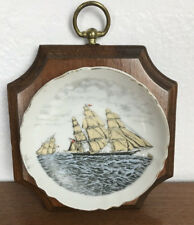 Vintage Miniature Sailing Ship Plate Mounted on Wood Plaque Wall Hanging