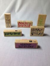 Party Stamps, ( Lot Of 6 ) Rubber Stamp Lot, Invitation, Rsvp, Happy Birthday