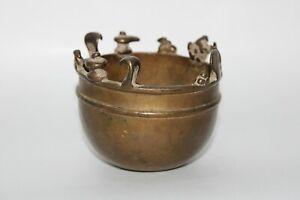 Antique brass Holy hindu subject vibhuti bowl shiv family sitting on top