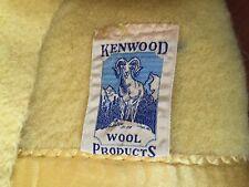 Vintage Wool Blanket Yellow Kenwood 68 X 70 Satin Edge