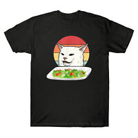 Angry Women Yelling At Confused Cat At Dinner Table Meme Vintage Men's T-Shirt