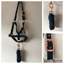 Headcollar and Lead Rope Set, Rose Gold & NAVY, COB FREE UK Postage