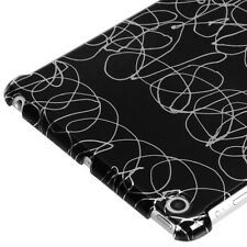 For APPLE iPad Mini Curved Swirl Lines Black SmartSlim Back Protector Cover Case