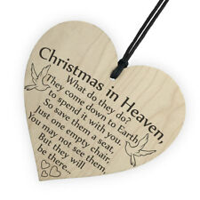 Wooden Tag 'Christmas in Heaven' Heart Plaque/Sign Festival XMAS Gift Home Decor